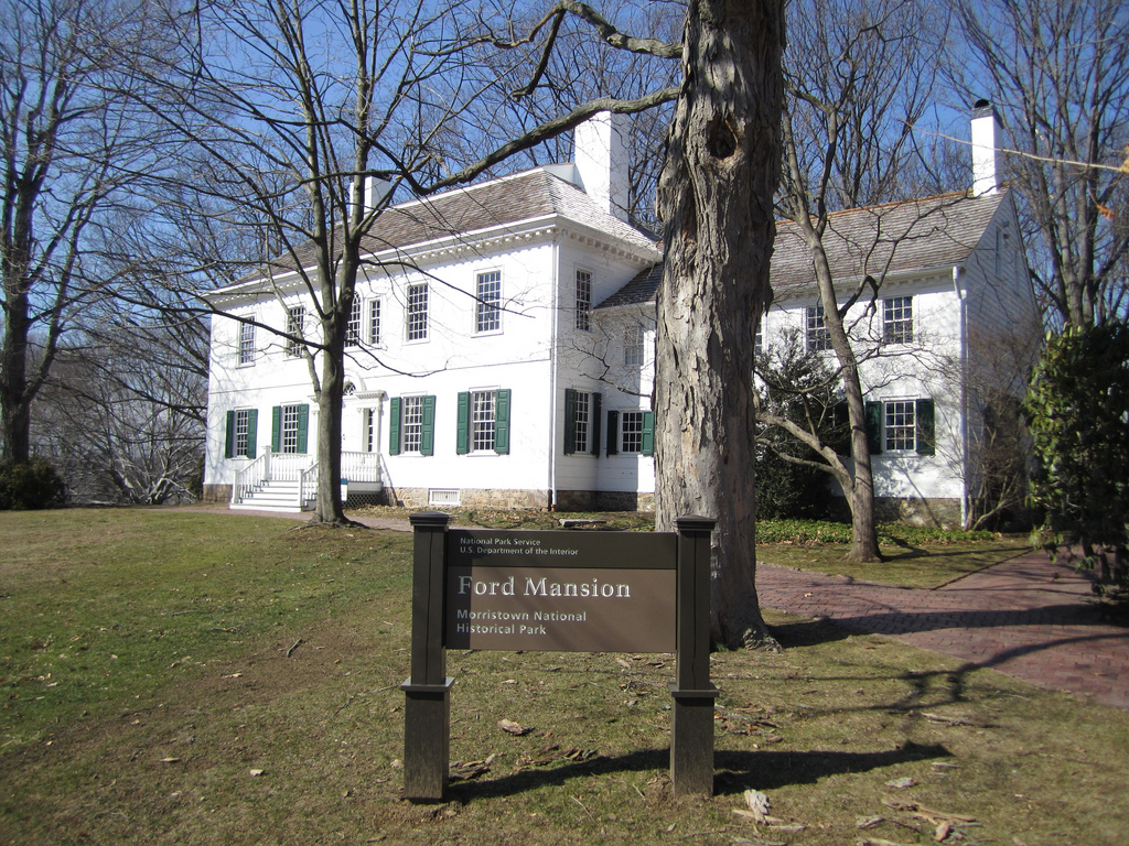 Ford's Mansion at Washington's Headquarters in Morristown, New Jersey. Washington and his family quartered in the house during his second winter encampment in 1779. Image from digital commons.