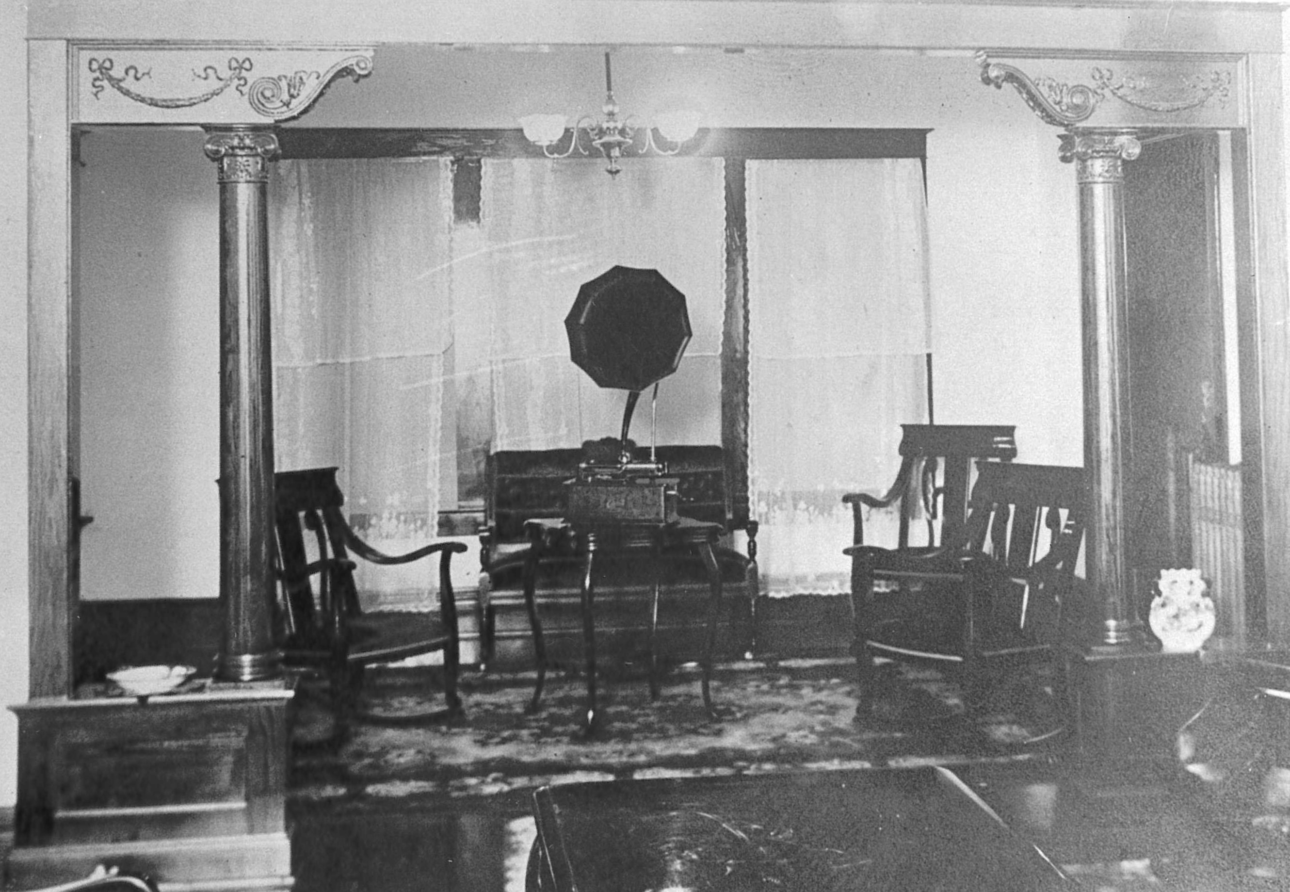 Victrola and seating in the tower area