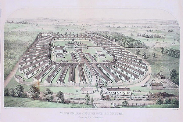 """""""Mower U. S. A. General Hospital, Chestnut Hill, Philadelphia"""" lithograph by James Queen, 1863"""