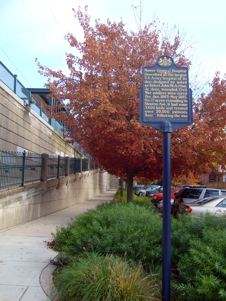 This historic marker is located near the site of the former Union hospital site where the present-day Market Square shopping center now stands. Photo by Matt Szalwinski