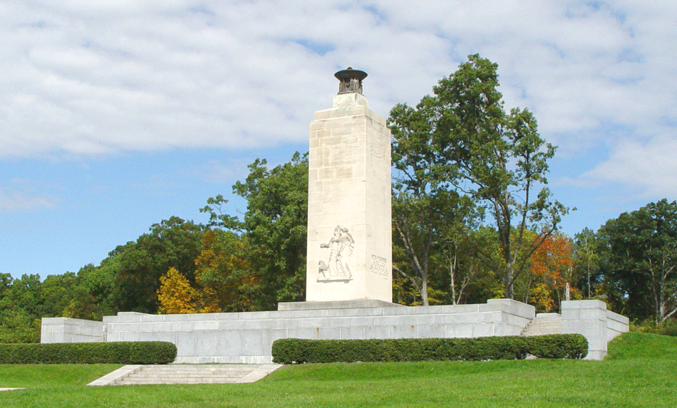 The Peace Light Memorial Located on Oak Hill. Picture from Stone Sentinels