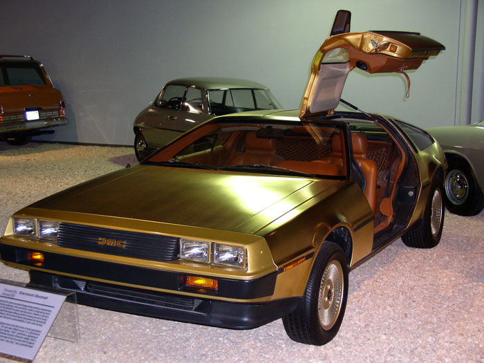 This is one of three gold-plated DeLoreans manufactured by AMC