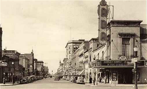 Scene of Downtown Boise, including the Ada Theatre, in 1937