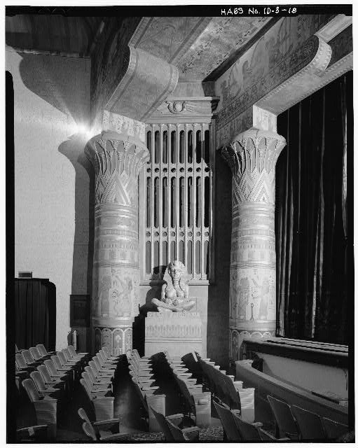 View of proscenium columns and decorations within the Ada Theatre