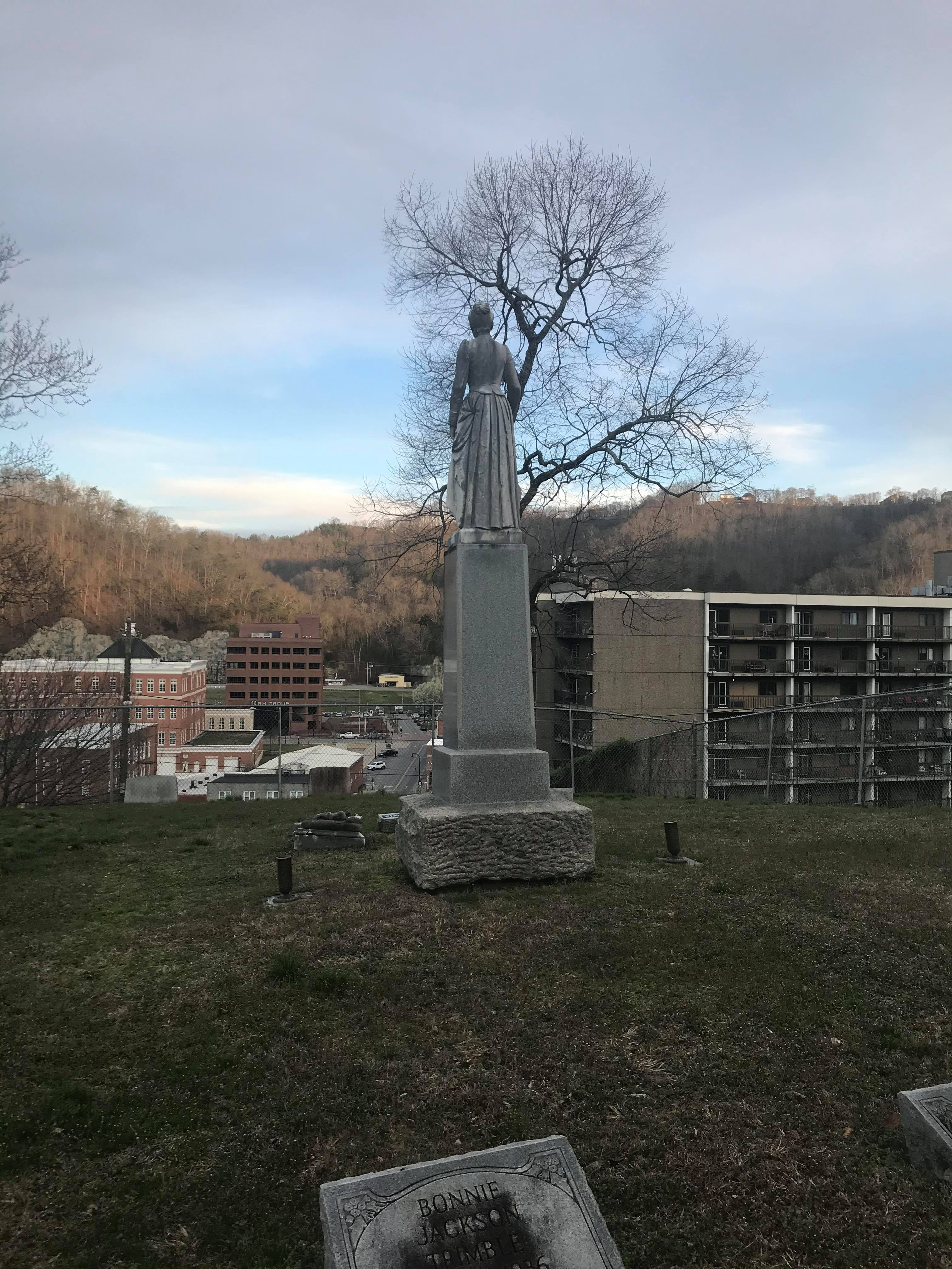 The statue and its view of Pikeville