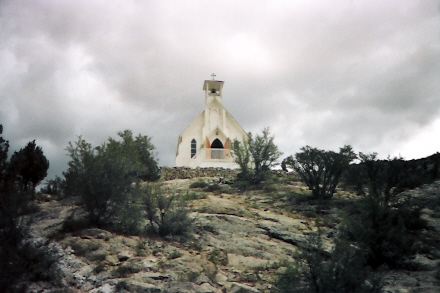 Silver City church overlooking the city