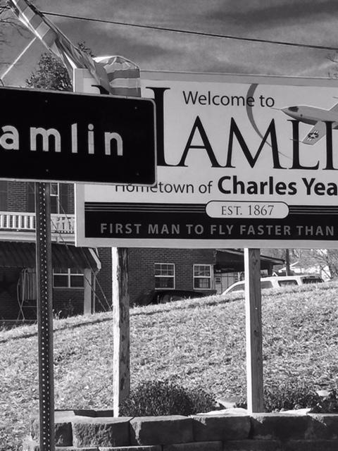 "The ""Welcome to Hamlin"" sign."