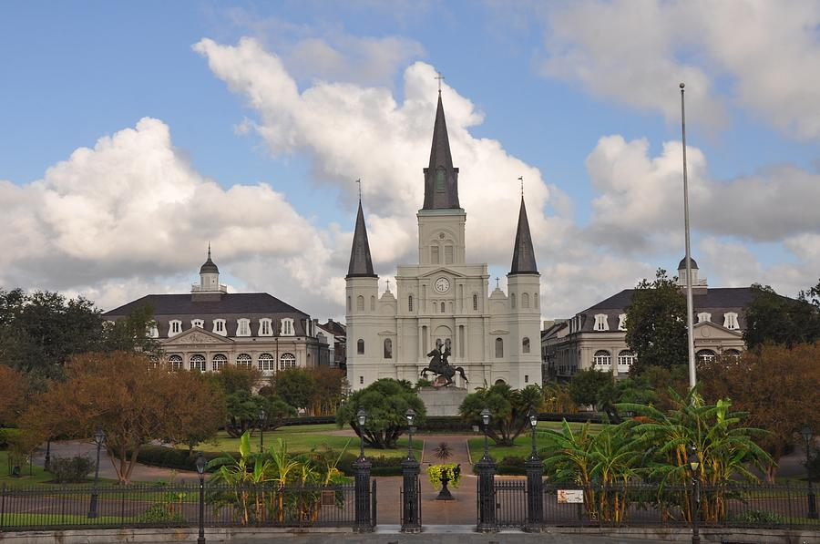 Jackson Square with St. Louis Cathedral in the background.