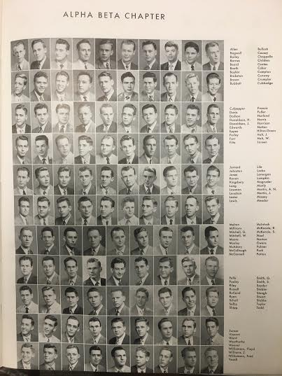 Picture of members of Alpha Beta Chapter Kappa Alpha, 1949