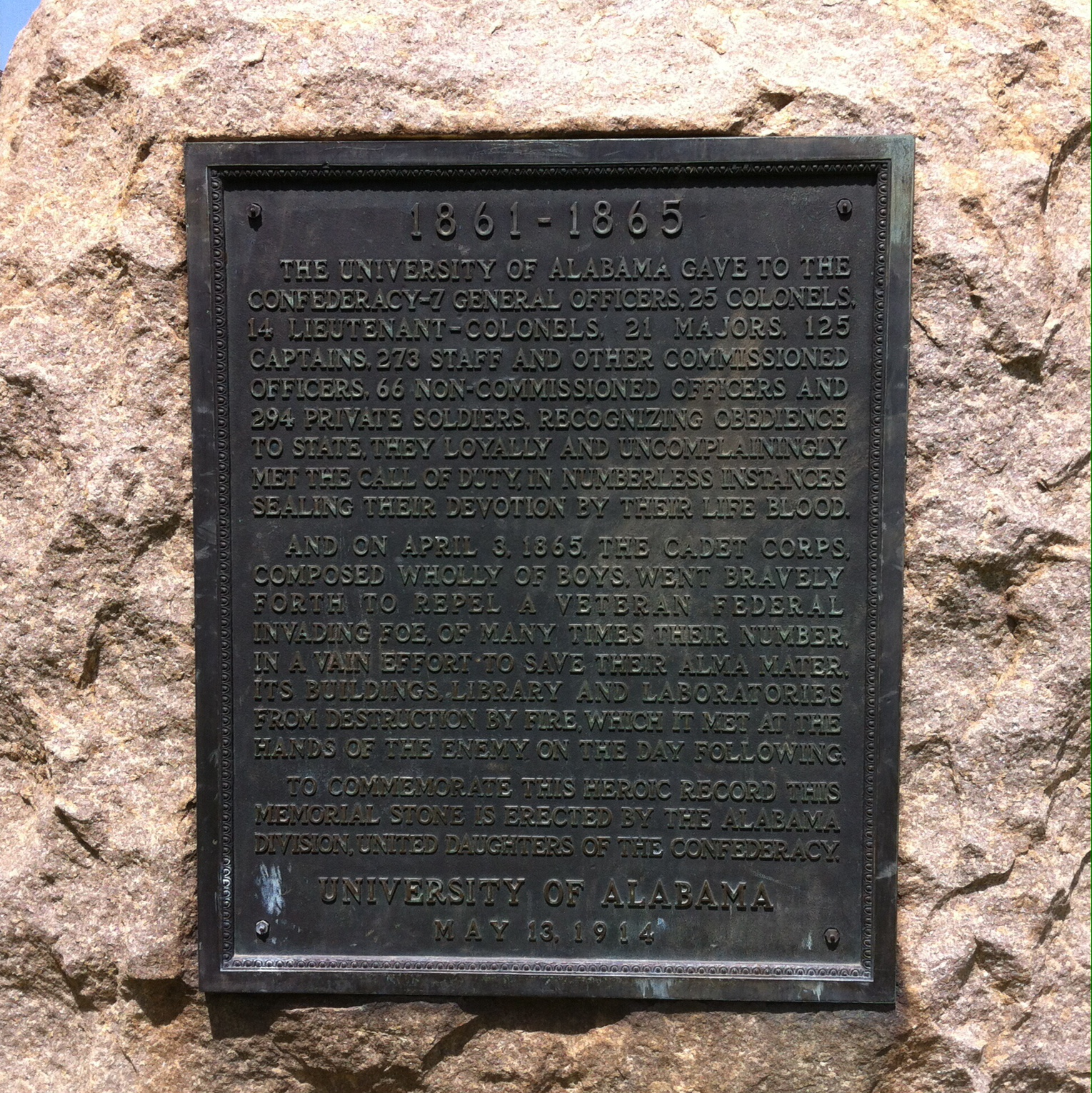 Here is a close of up the bronze plaque which is in the middle of the monument. It comforts those who fought for the confederacy and studied at UA.