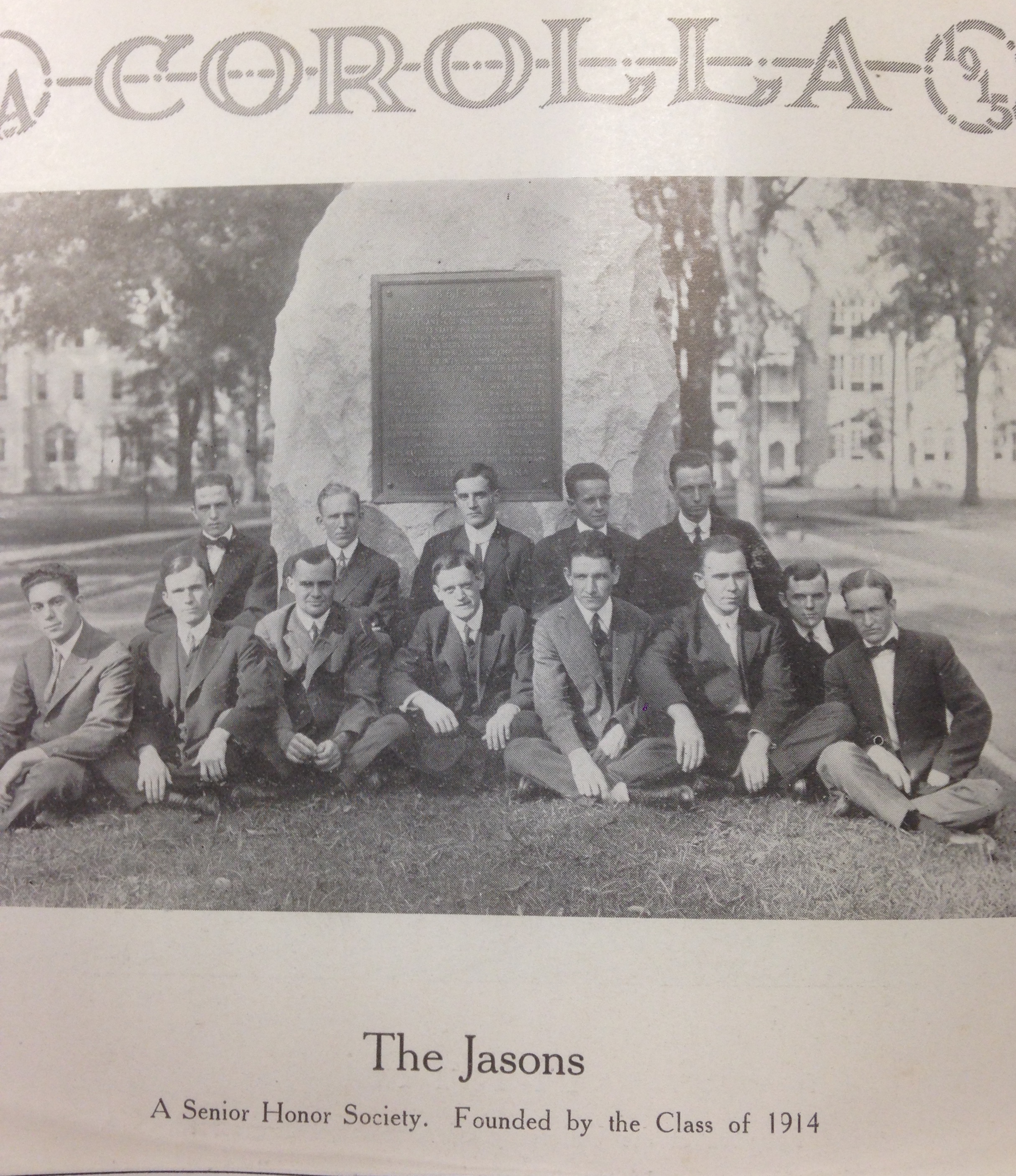 A Senior society called 'The Jasons' posed next the UDC boulder. Here you can see the boulder in its original location (the Rotunda), as well as what it looked like just after it was received by UA Corolla 1914 (W. S. Hoole Special Collections)
