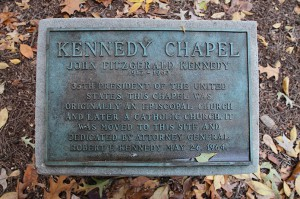 A marker in front of the Kennedy Chapel on the University of West Georgia campus signifies the occasion of Robert Kennedy's 1964 presence at the groundbreaking for the chapel. Photo By: Michael Alexander