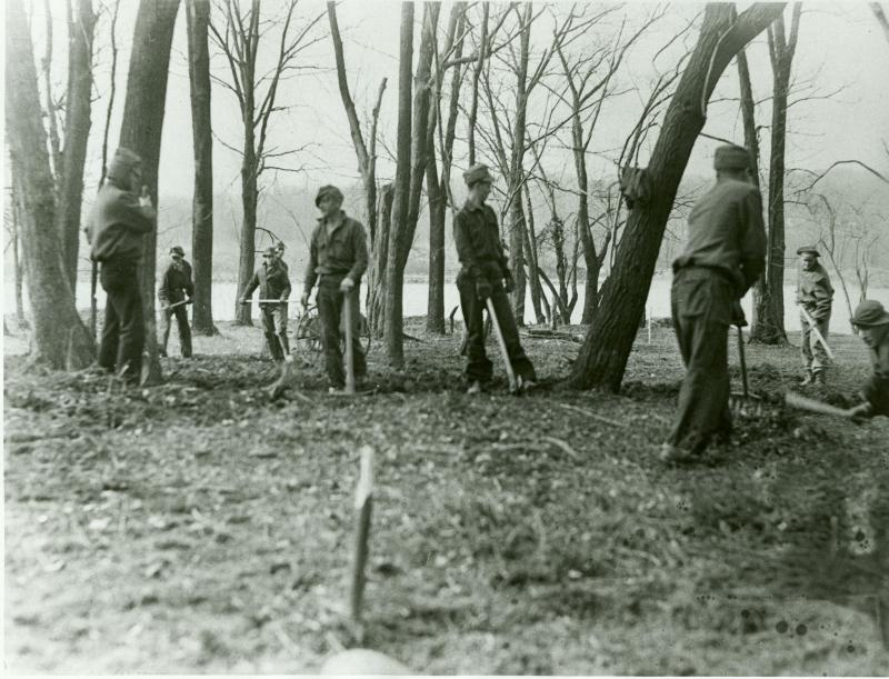 Civilian Conservation Corps Enrollees, who lived at Camp Hunt, a model camp, during work on Theodore Roosevelt Island (image from the National Park Service)