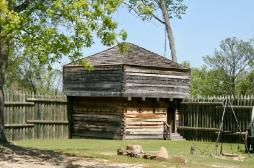 A reconstructed stockade that was built on the original site of the original outpost.