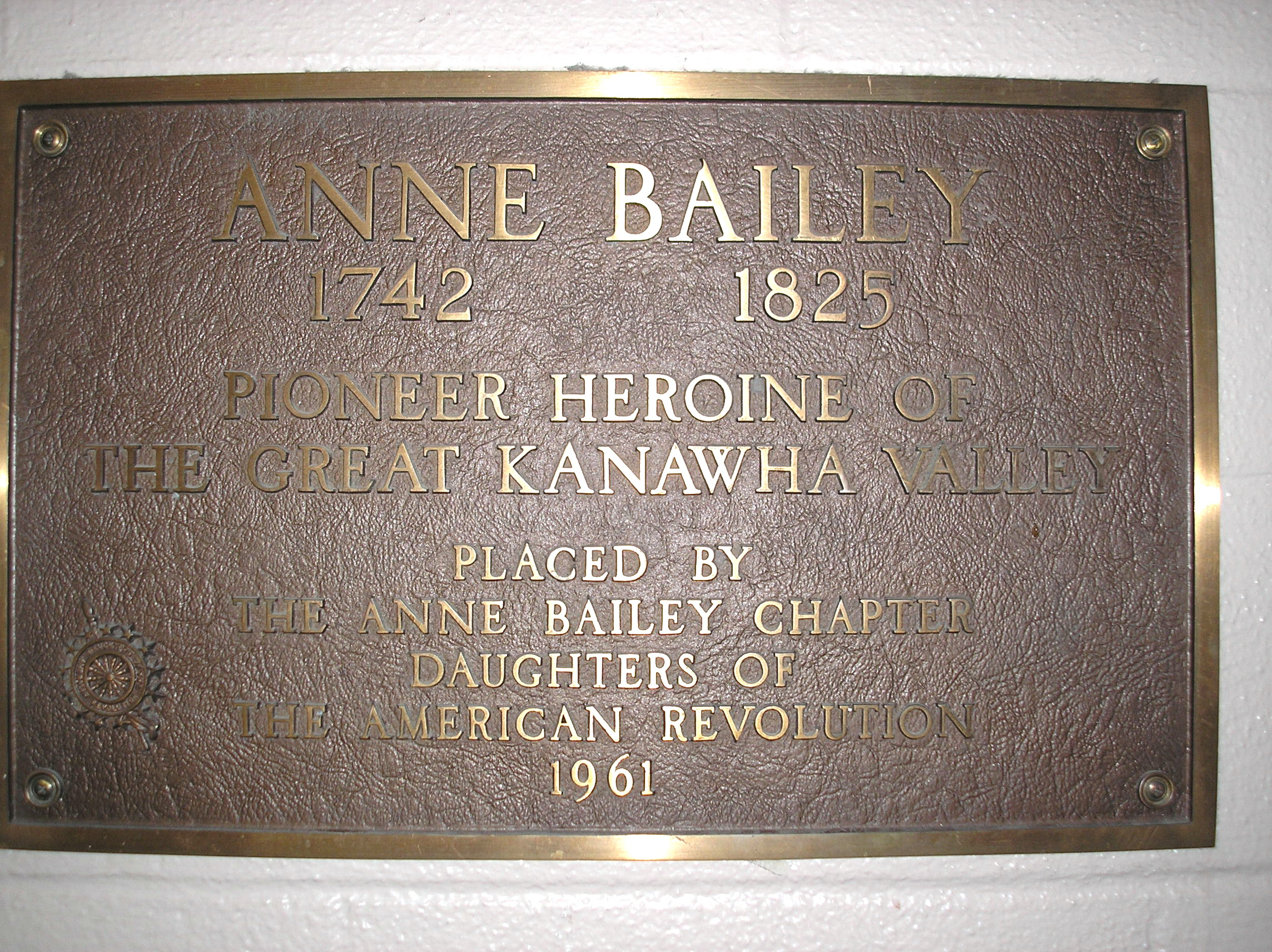 Plaque remembering Anne Bailey in the elementary school