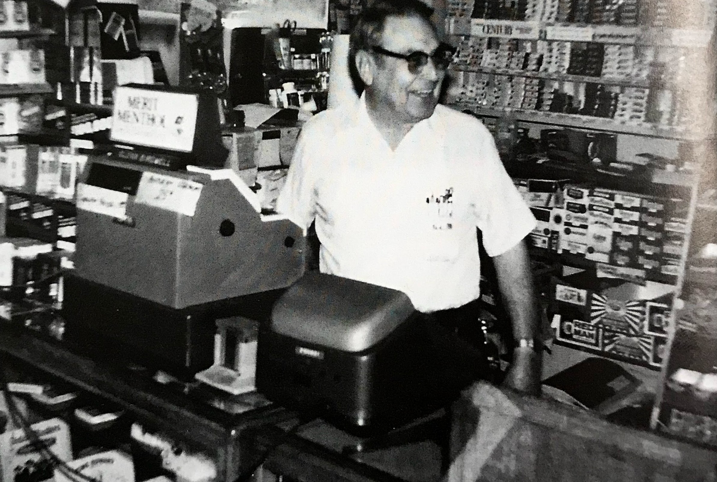 Mr. Birdwell pictured standing behind the counter