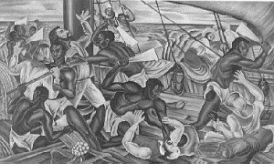 The Amistad captives revolting on the Spanish slave ship