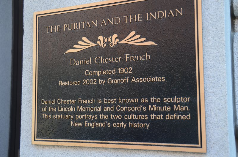 Plaque commemorating Daniel Chester French's sculpture, The Pilgrim and the Indian.