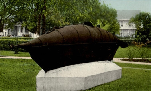 The Pioneer, a Confederate submarine constructed at the fort