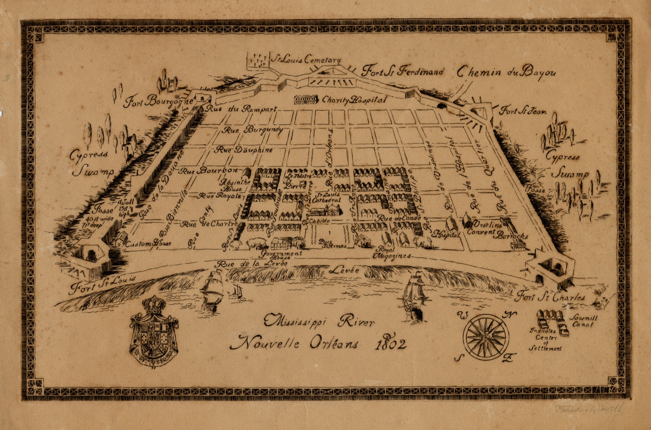 1802 map of New Orleans. The Old Absinthe House can be seen in the center left of map (between Rue Royal and Rue Bourbon). Courtesy of the Louisiana State Museum.