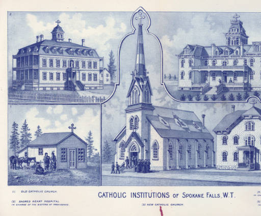 This 1889 image from the Washington State University Library features two buildings that preceded the current church, the parish school, and an early image of Gonzaga College.