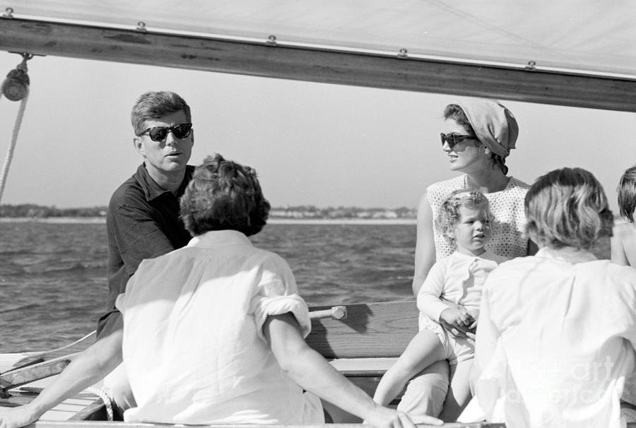 John F. Kennedy sailing wife his family and friends off Hyannis