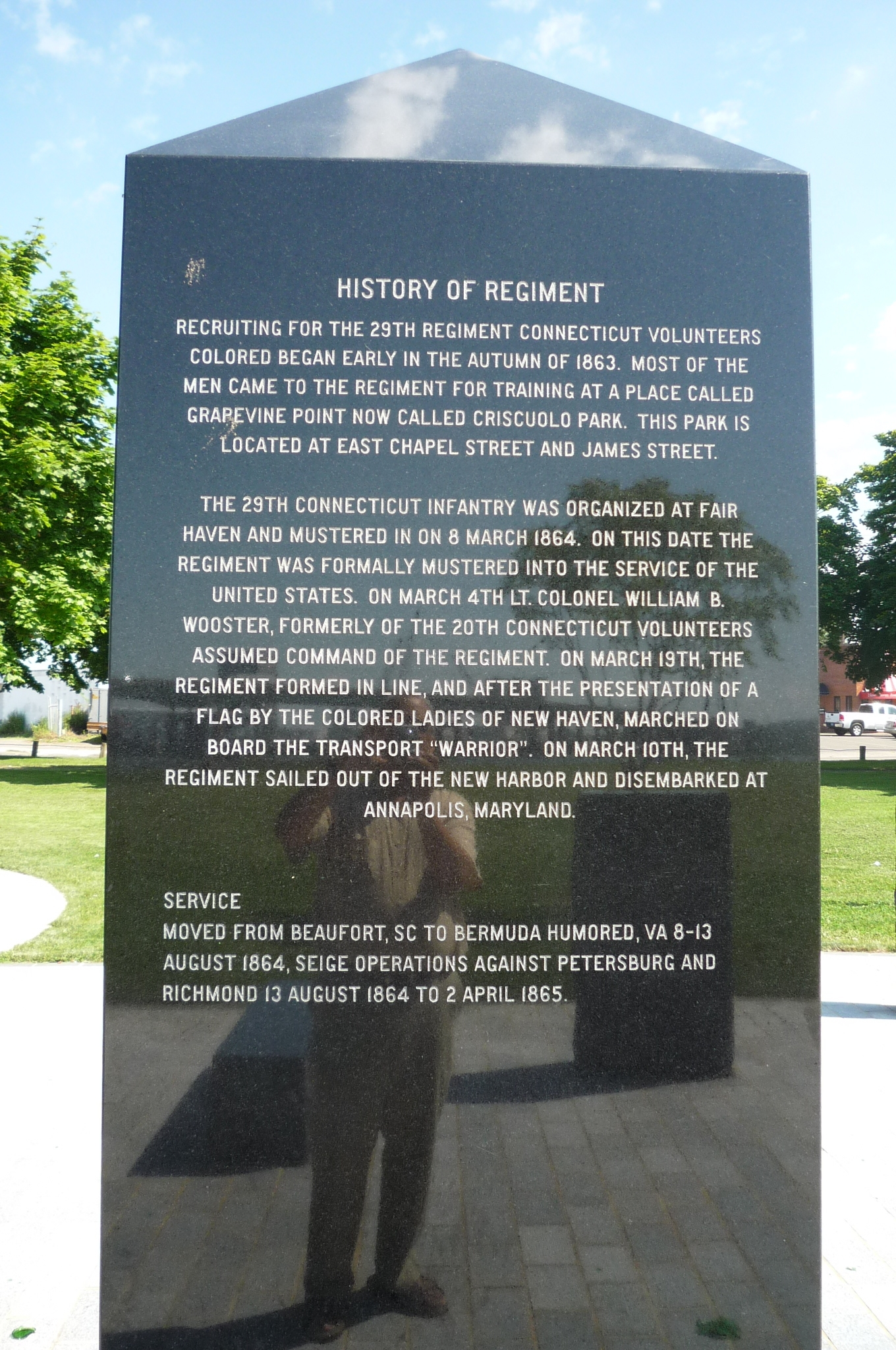 South side of the memorial obelisk, telling the history of the 29th Regiment