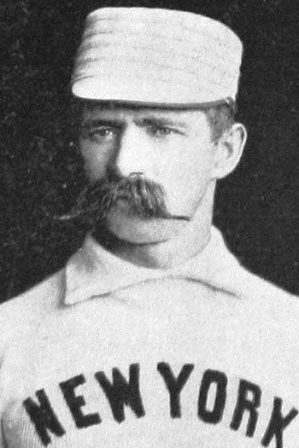 James Henry O'Rourke with the New York Giants, showcasing his famous moustache.