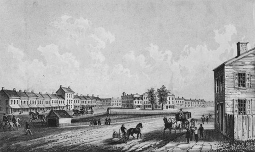 Chatham Square in 1812, lithograph by George Hayward, (image from  D.T. Valentine's manual 1864, digital scan: NYPL MMPCO)
