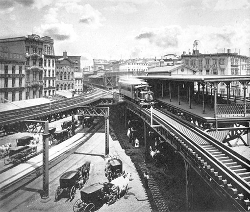 Chatham Square in 1880. Note station and el lines. (image from http://www.columbia.edu/~brennan/beach/chapter19.html http://www.nychinatown.org/chatham.html)