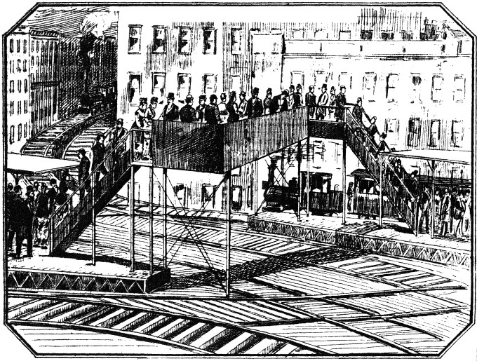 Chatham Square Station, from the Daily Graphic, March 5, 1880. (image from http://www.columbia.edu/~brennan/beach/chapter19.html)