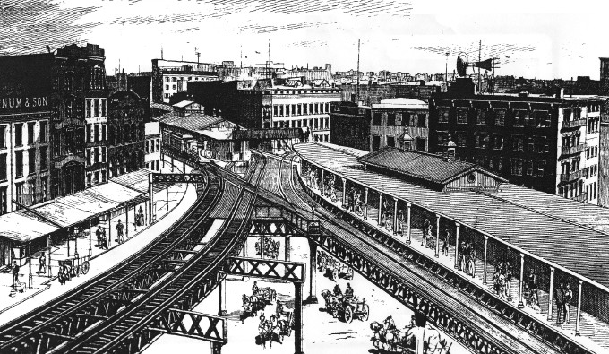 From the Daily Graphic, March 5, 1880. Second Ave. platform on the route to South Ferry on right. Third Ave. downtown train is departing and about to turn into the City Hall Branch. (image from http://www.columbia.edu/~brennan/beach/chapter19.html)