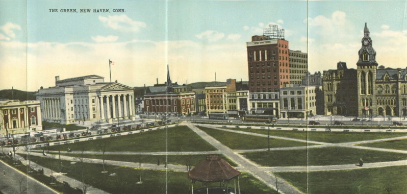 "Part of a panoramic view of The Green in a ""Souvenir Folder"" sold and mailed in 1919."