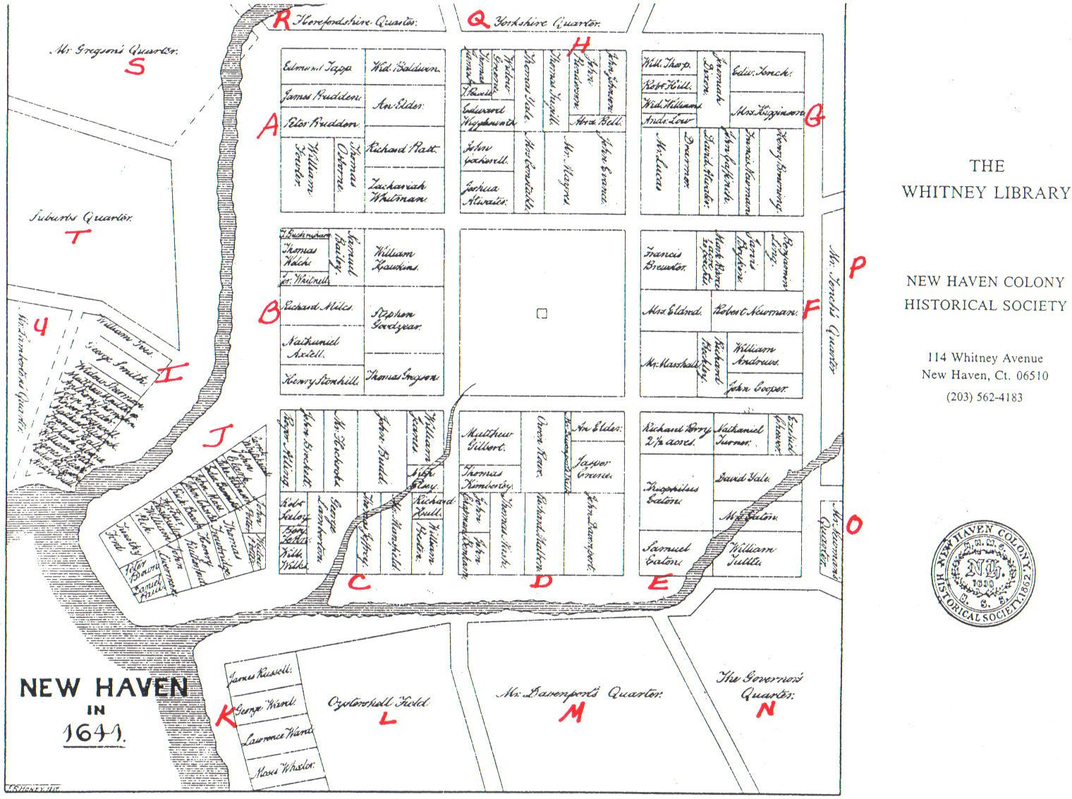 Map depicting the original town plan of nine squares. John Brockett was given the credit for laying out the plan in 1641.