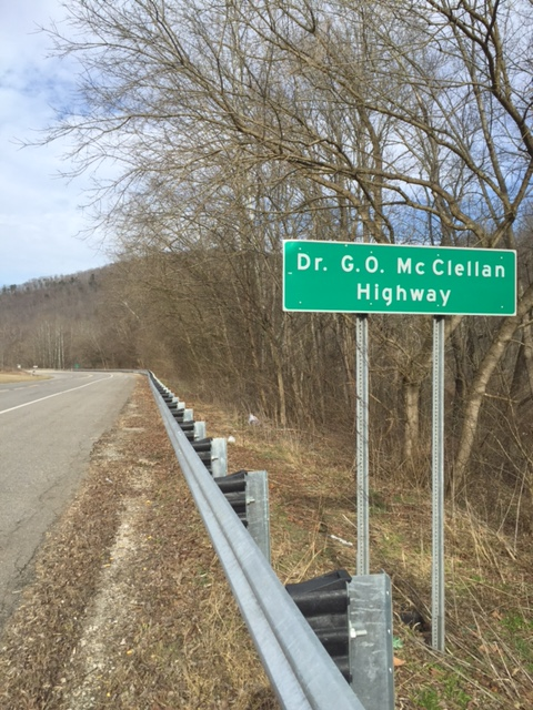"The ""Dr. G.O. McClellan Highway"" sign on route 10 near Ranger."
