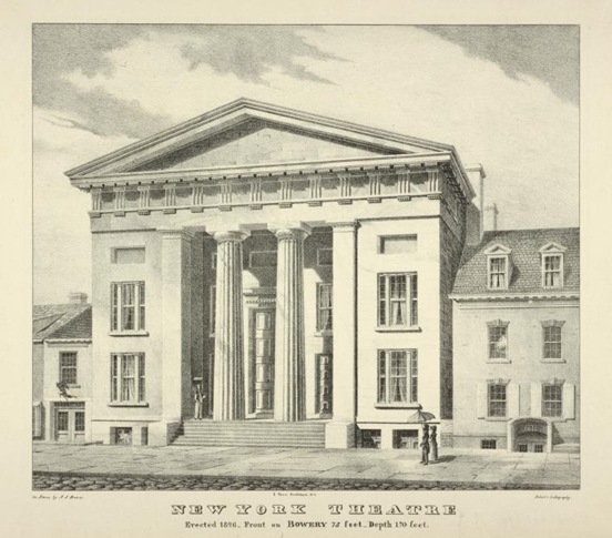 The New York Theatre in 1826, designed by architect Ithiel Town (image from Manhattan Unlocked)