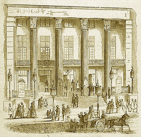 The Bowery Theatre, 1839, which stood until the 1845 fire (image from Manhattan Unlocked)