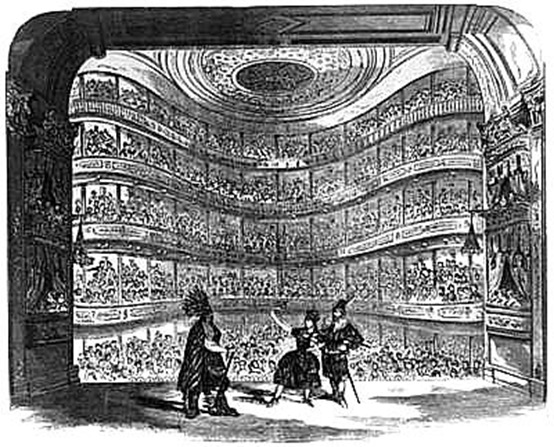 The Bowery Theatre interior in the 1850s (image from Manhattan Unlocked)