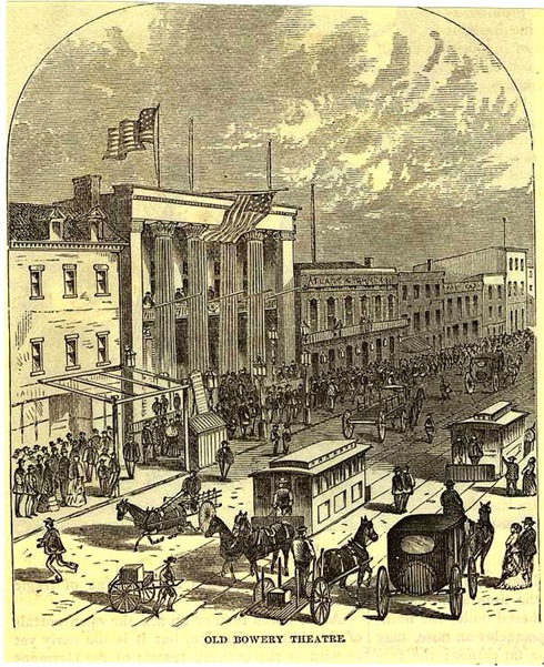 The Bowery Theatre depicted in Harpers Monthly magazine, 1871 (image from Manhattan Unlocked)