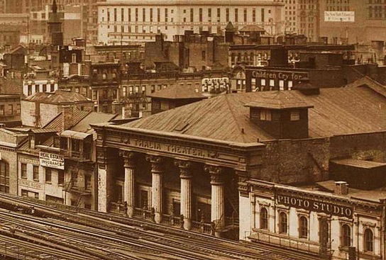 Fay's Bowery Theatre in 1928, one year before the final fire; note the el tracks in front of the building (image from Manhattan Unlocked)