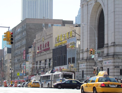 The site of the Bowery Theatre, now Jing Fong restaurant (image from Manhattan Unlocked)