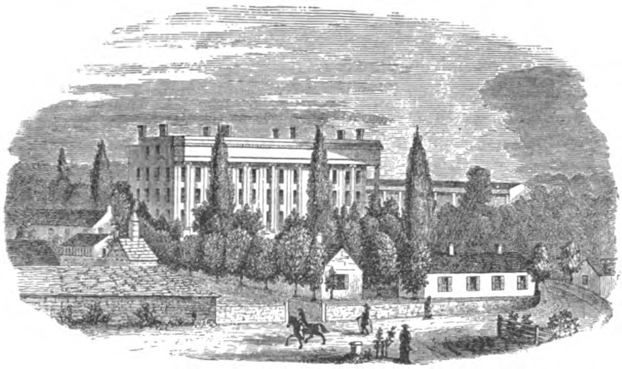 Harrodsburg Springs circa 1842-1843, which became U.S. Military Asylum, May 8, 1853 (image from the Kentucky Historical Society).