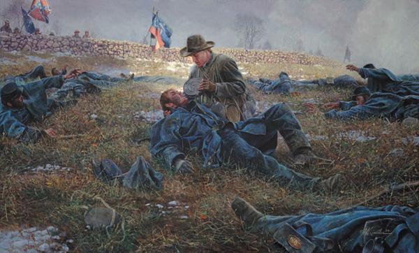 Artist Mort Kunstler's depiction of Richard Kirkland attending to the Union wounded