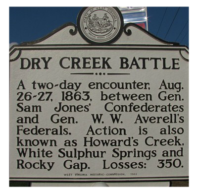 This historical marker is located at the intersection of RT 92 & US 60-just north of the site where the battle began.
