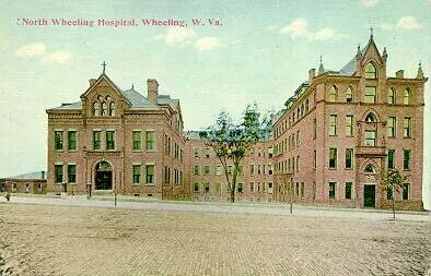 Postcard of the hospital in North Wheeling
