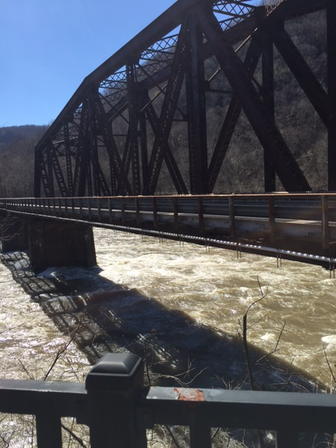 The one lane bridge that crosses the New River into the historic town of Thurmond, WV.