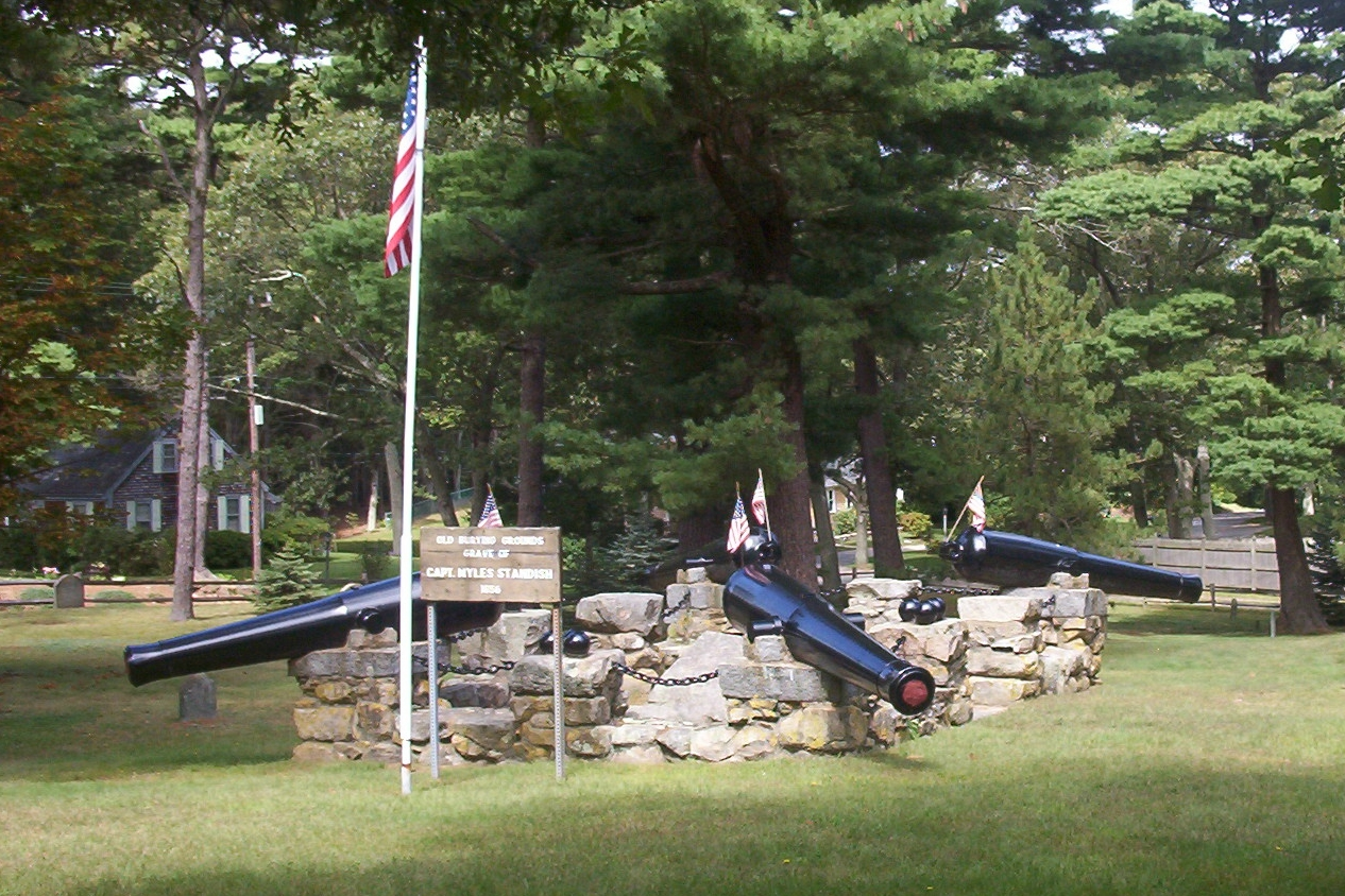 Myles Standish Burial Ground. The canon installed on the memorial was created in 1853.