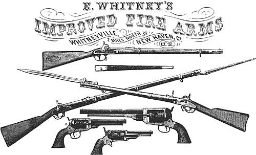 Whitneyville Armory, Whitney's Improved Fire-Arms, from an advertisement, ca. 1862 - Library of Congress, Prints and Photographs Division