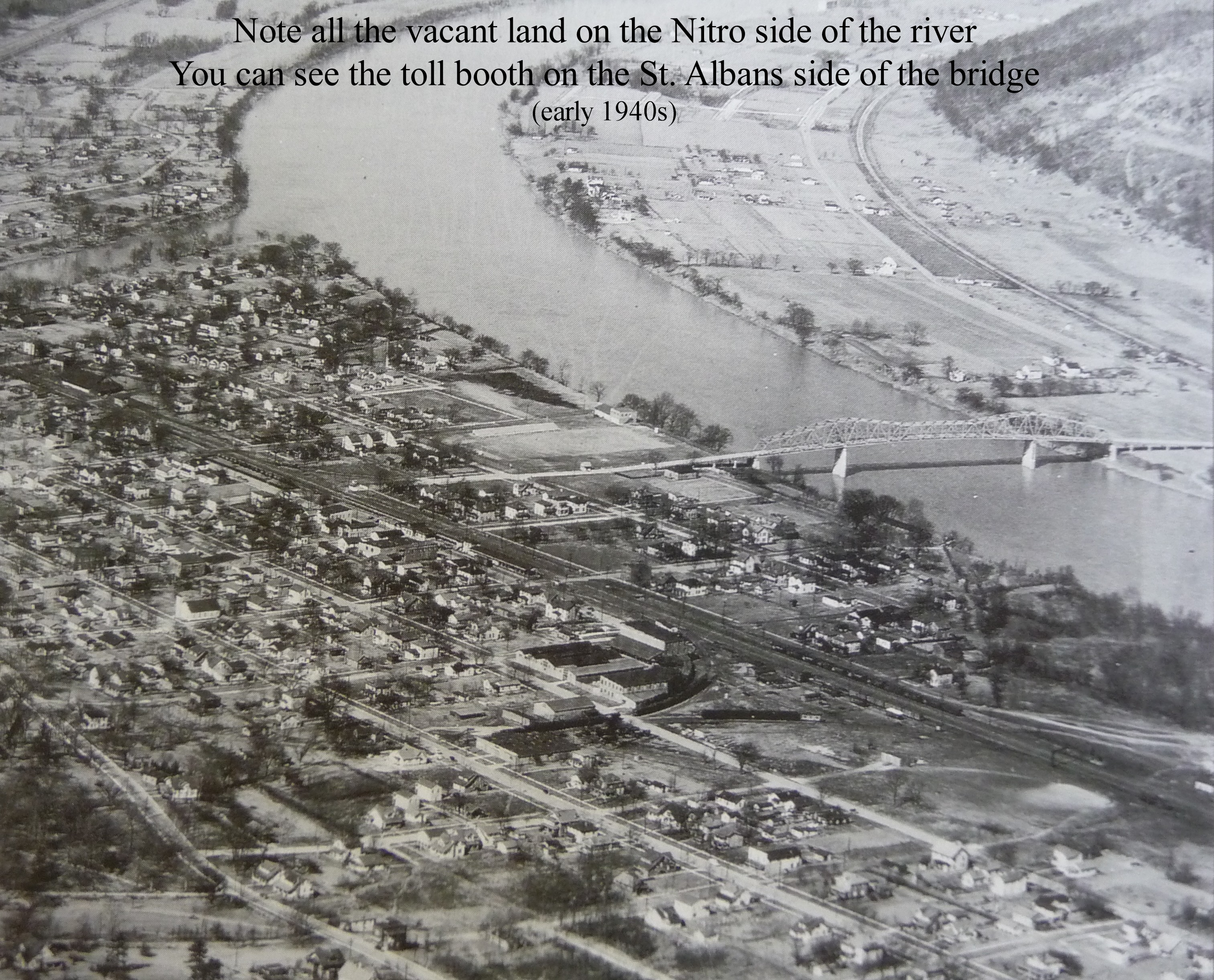 Aerial view of the two cities during the early years of the bridge