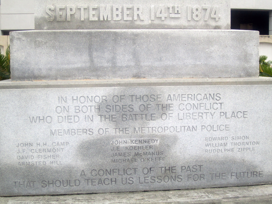 This granite tribute to the police who lost their lives defending the government was added a century after the monument was created.